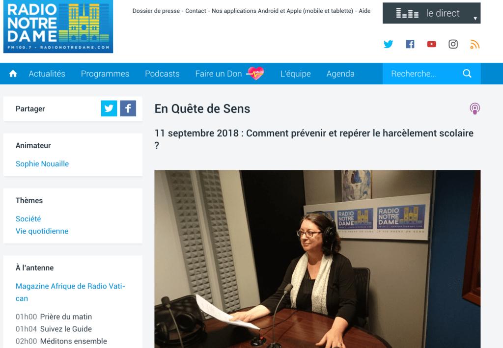 RND - En Quête de Sens Podcasts 11 septembre 2018 : Comment prévenir et repérer le harcèlement scolaire ?